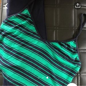 Blue/Green striped tank top with a navy blue skirt